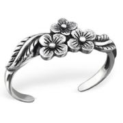 Sterling Silver Toe Ring - Triple Flowers